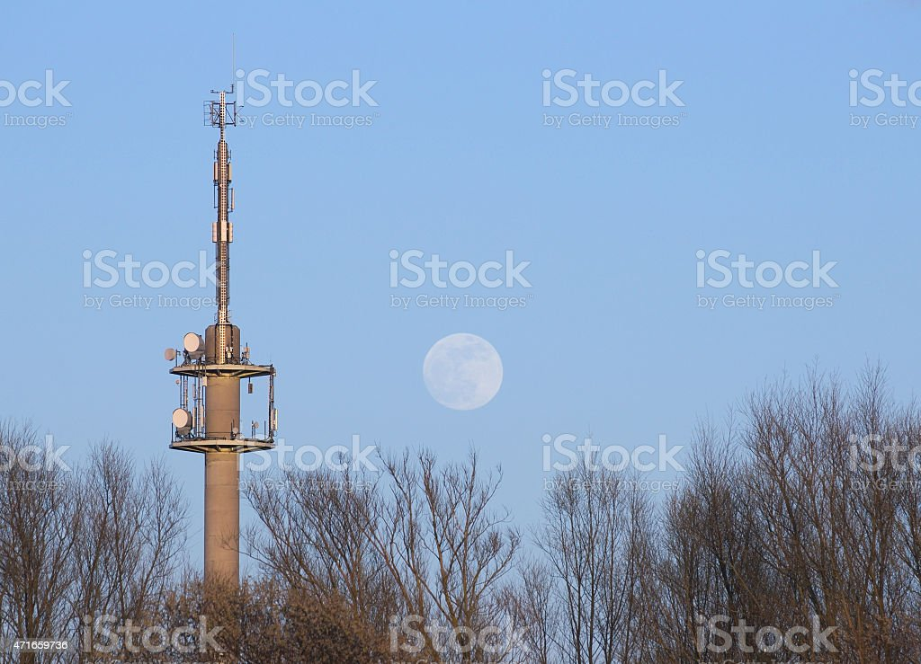 Radio Tower With Moon stock photo