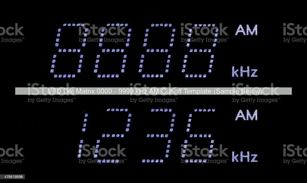 AM Radio Tuner Display Macro Closeup, Blue Digits, Black Background stock photo