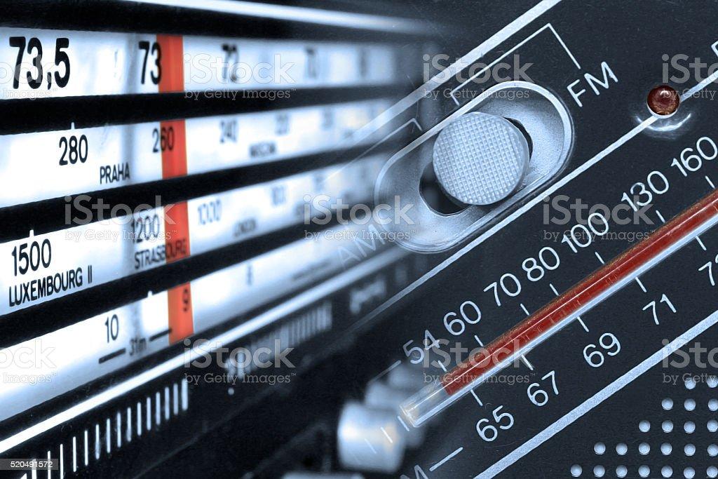 Radio tuner frequencies stock photo