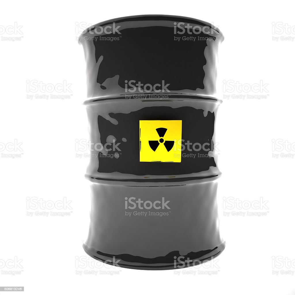 Radioactive barrel, 3d stock photo