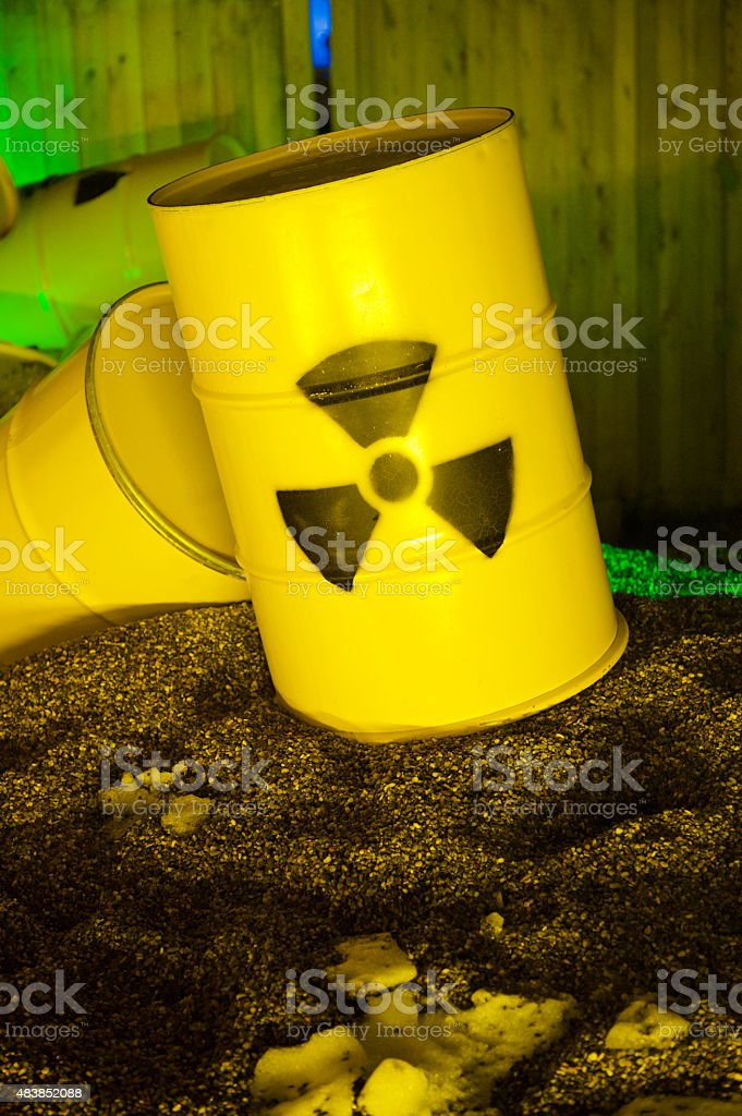 Radioactive barrels stock photo