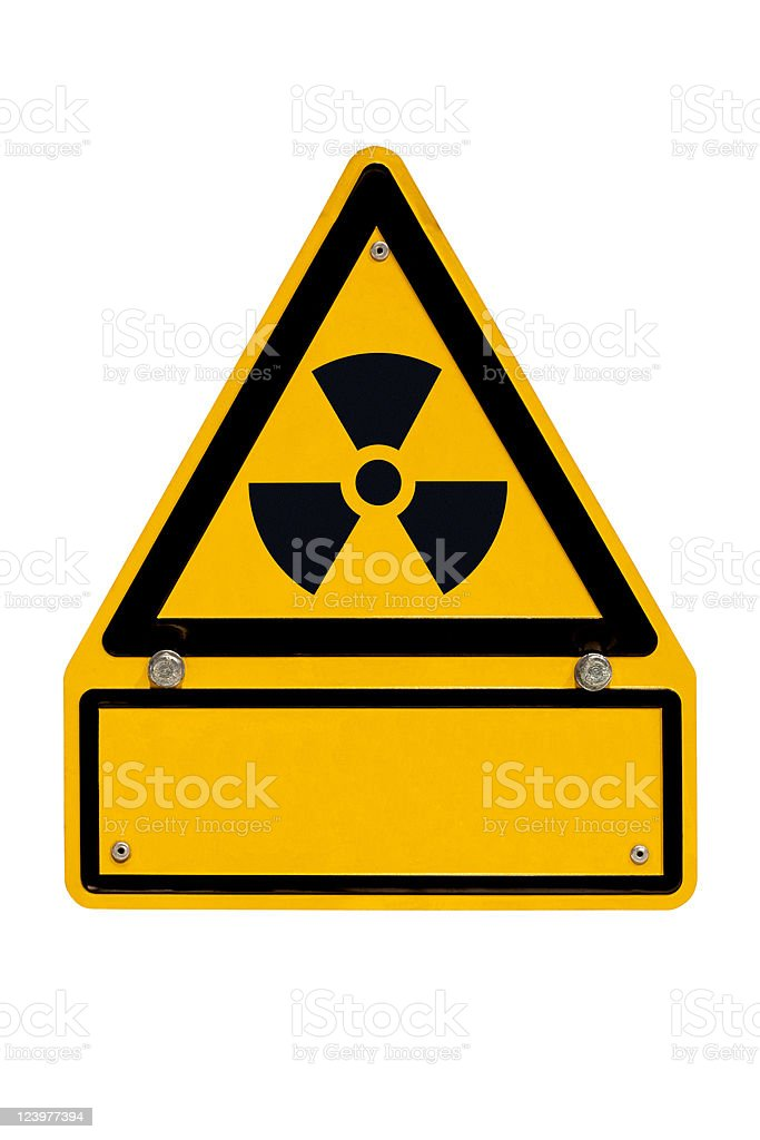 Radioactive Sign with copyspace on white royalty-free stock photo