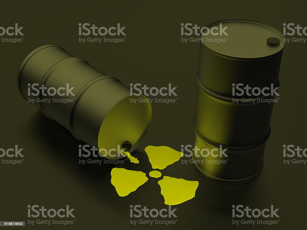Radioactivity sign in the form of nuclear liquid stock photo