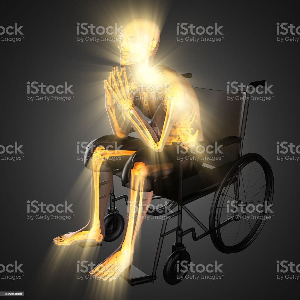 radiography of man in wheelchair stock photo