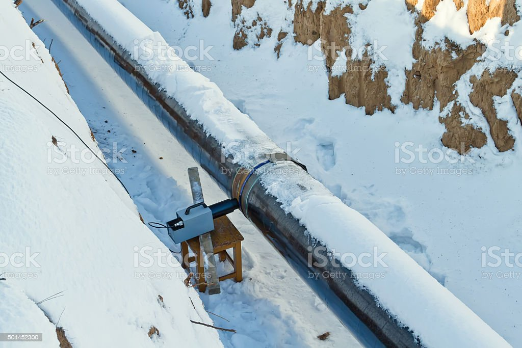 Radiography of welded joints of pipelines in winter conditions stock photo