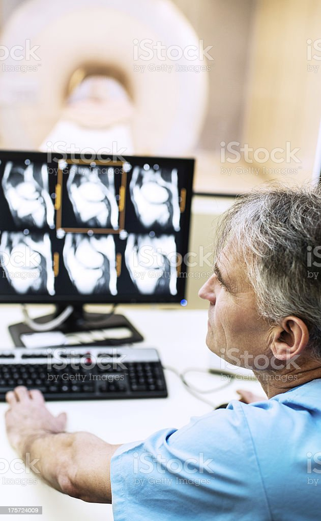 Radiologist analyzing X-ray images. stock photo