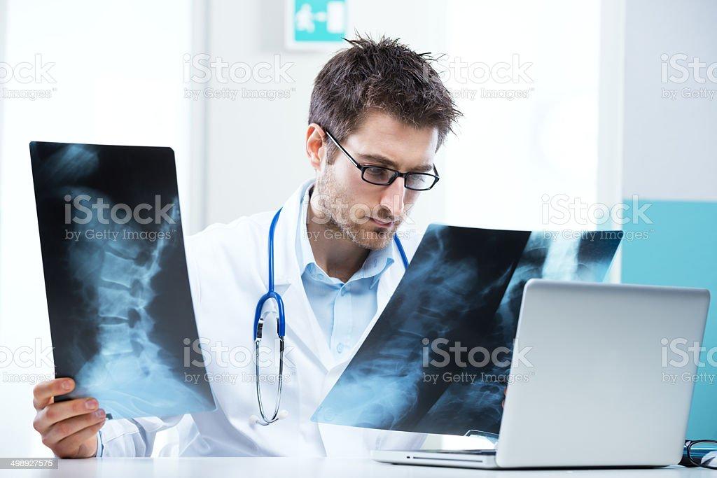 Radiologist exam stock photo