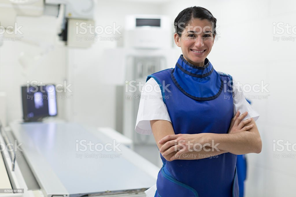 Radiologist nurse doing x-ray images. stock photo