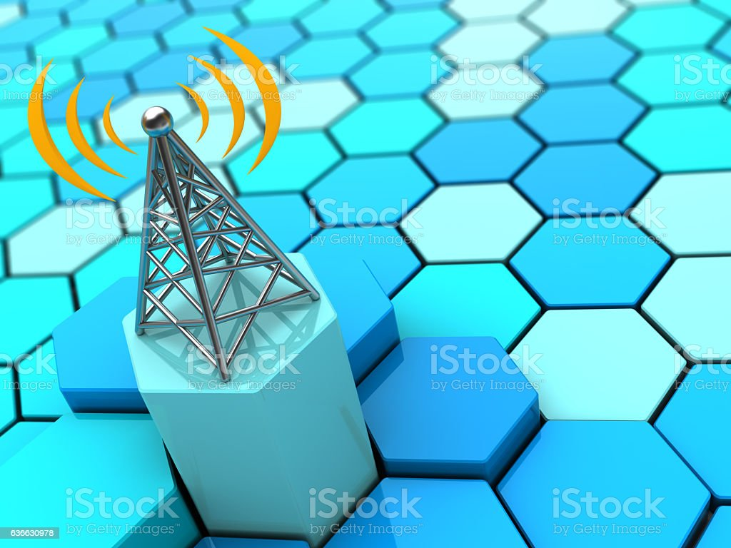 radiowaves and antenna stock photo