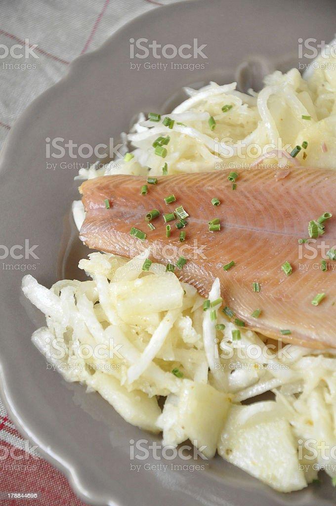 Radish Salad with smoked trout royalty-free stock photo