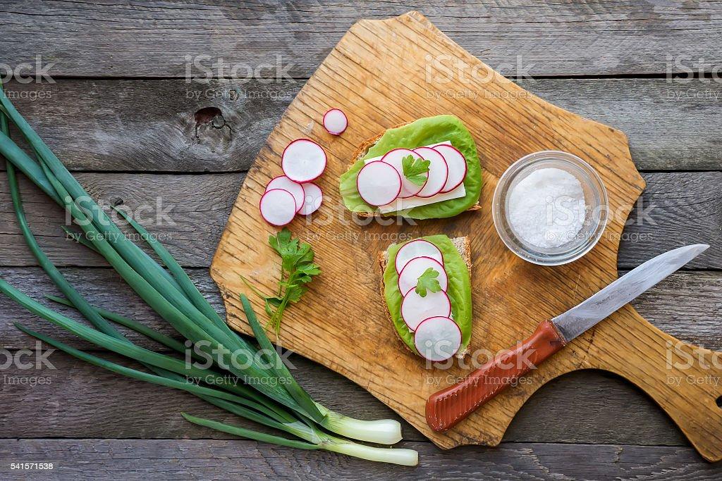 Radish toast stock photo