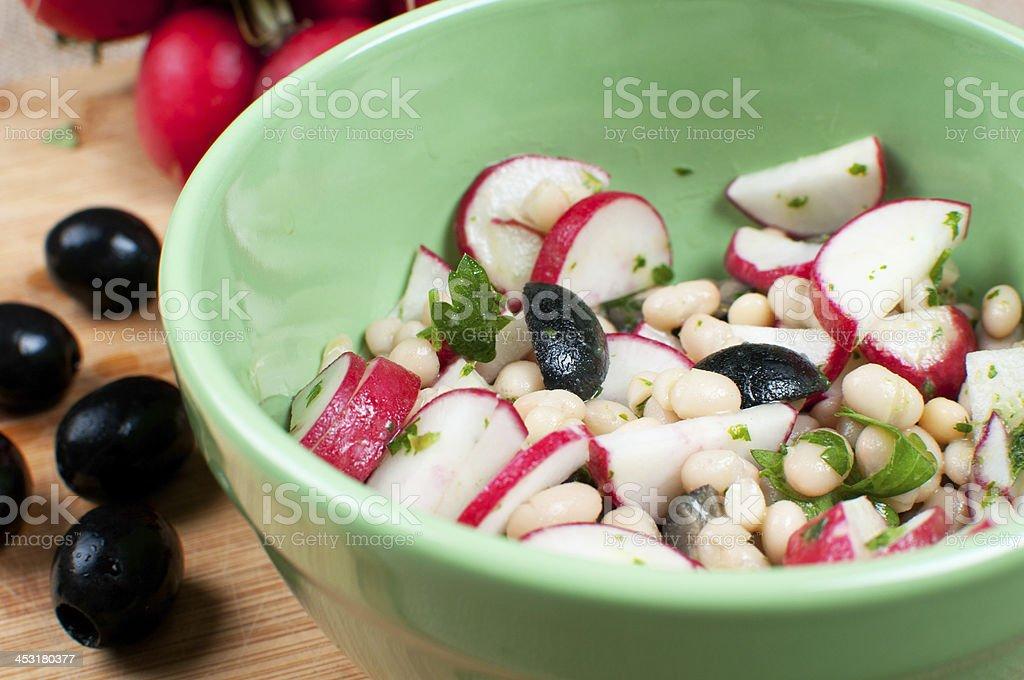 Radishes salad with olives royalty-free stock photo