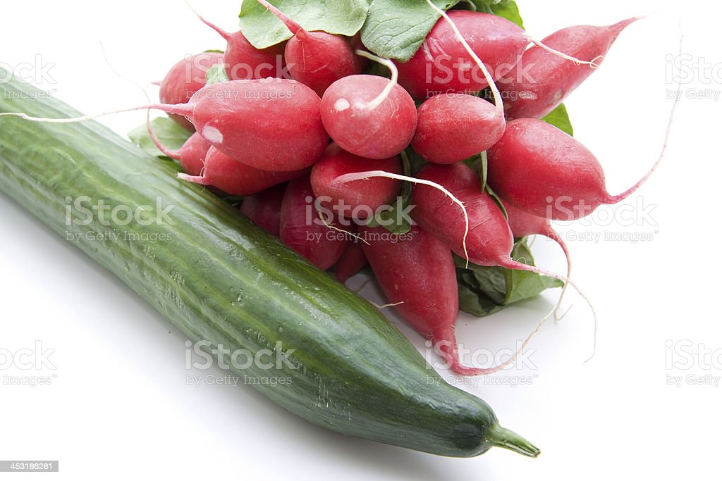 Radishes with cucumber stock photo