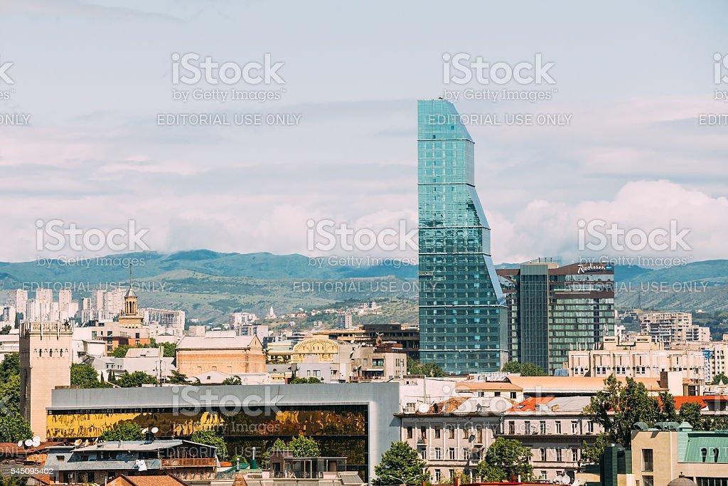 Radisson Blu Hotel On Background Of Urban Cityscape Of Tbilisi, stock photo