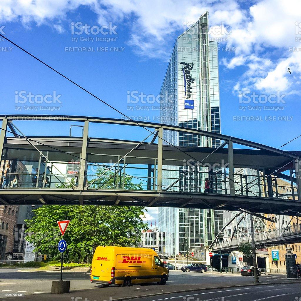 Radisson Hotel and DHL car on Oslo street stock photo