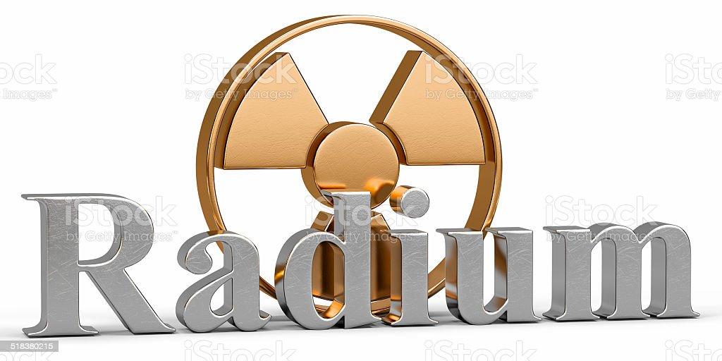 Radium chemical element with symbol Radiation stock photo