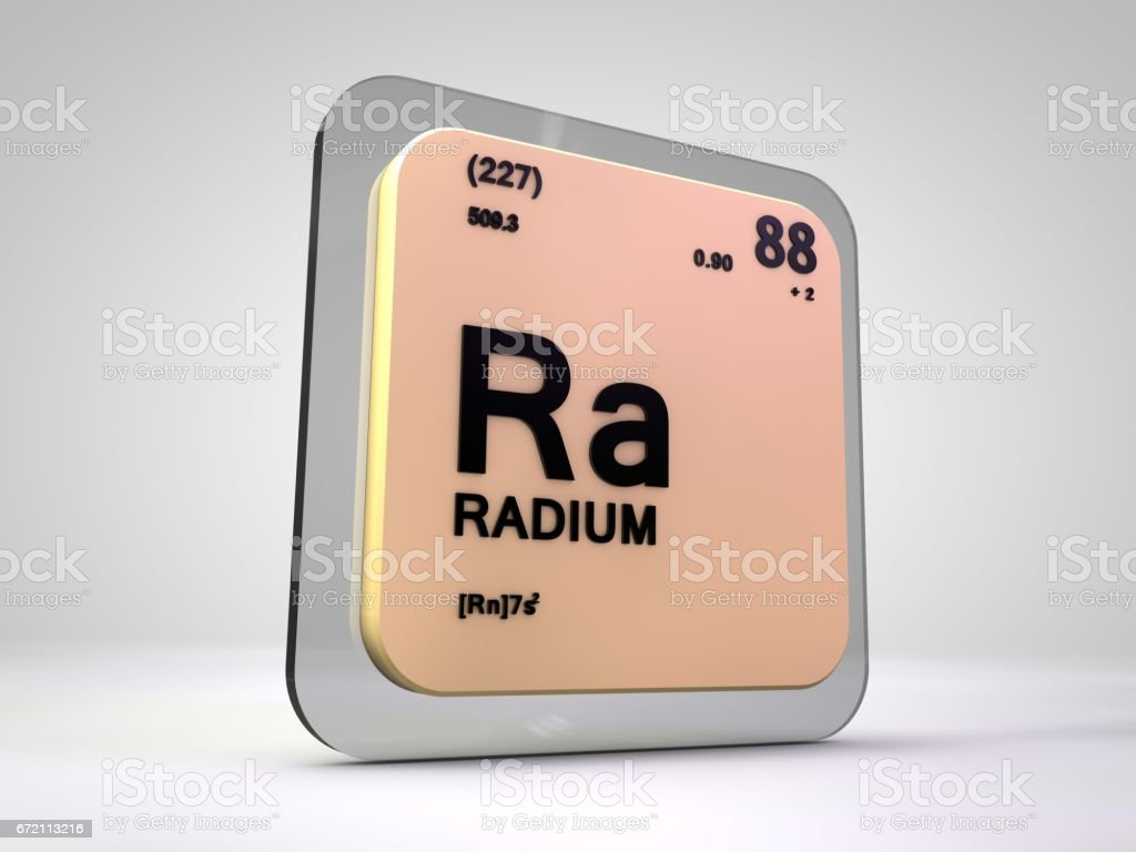 Radium - Ra - chemical element periodic table 3d illustration stock photo