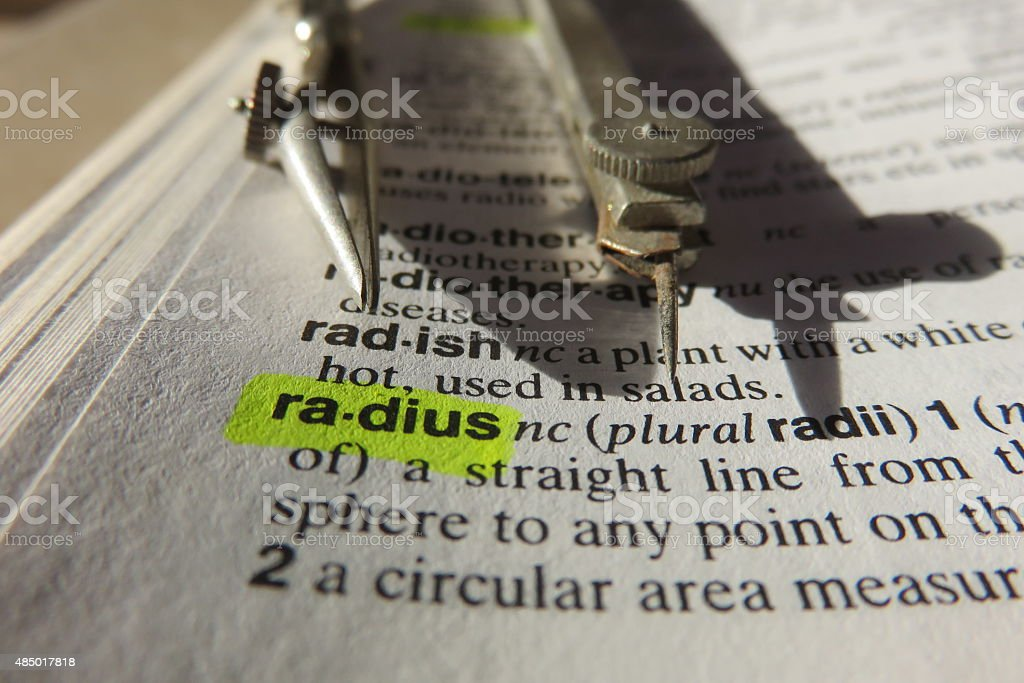 Radius - dictionary definition stock photo
