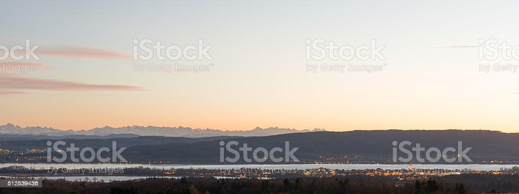 Radolfzell at sunset stock photo