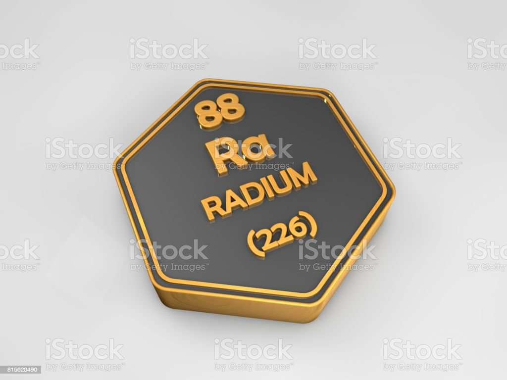 Radon - Rn - chemical element periodic table hexagonal shape 3d render stock photo