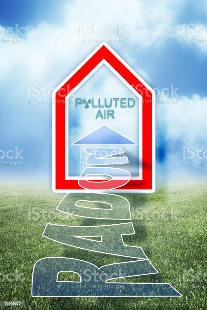 Radon: the radioactive gas that goes into our homes - concept illustration stock photo