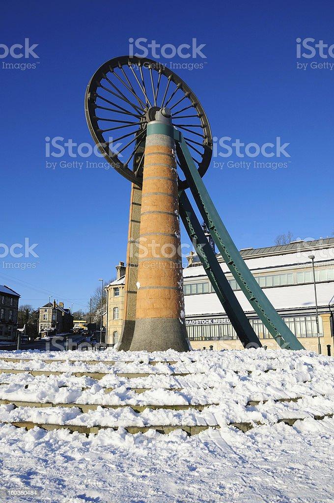 Radstock Miners Wheel in snow royalty-free stock photo