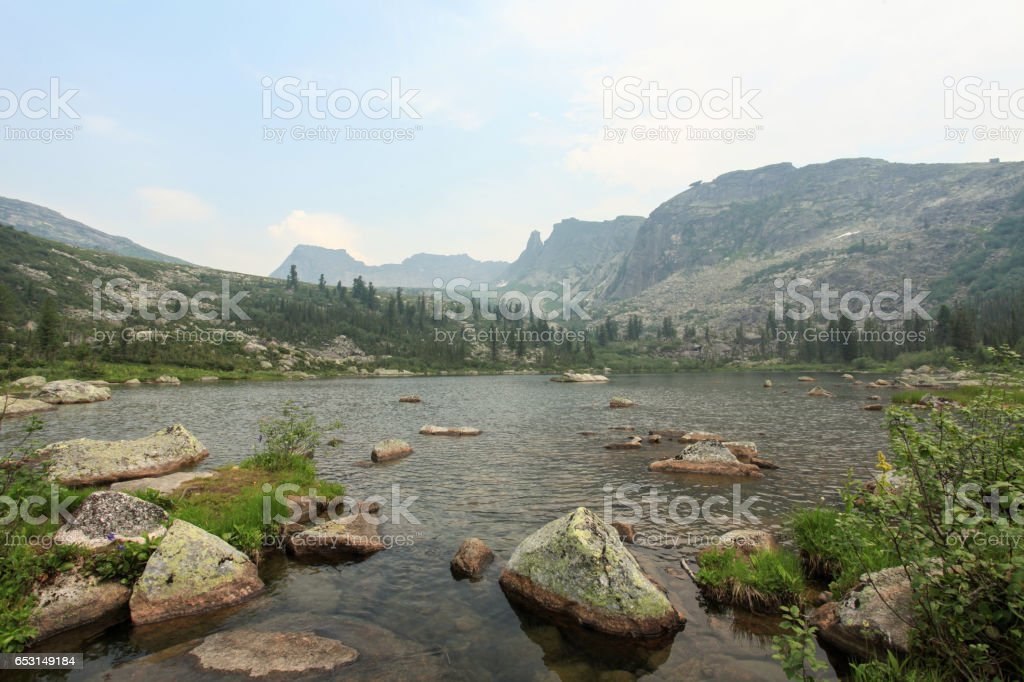 Raduzhnoye Lake. Sayan Mountains Natural Park Ergaki. Krasnoyarskiy krai, Russia. stock photo