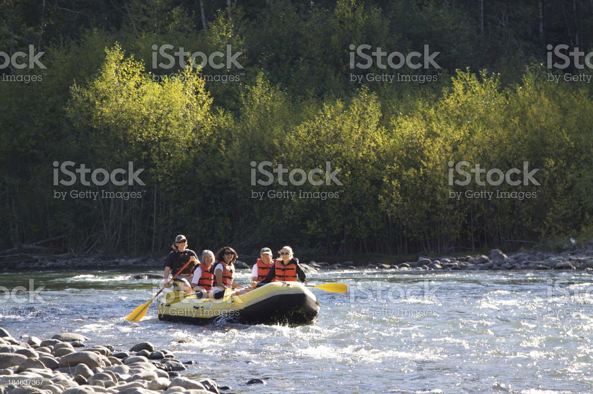 Rafing On The Beautiful Elwha River royalty-free stock photo
