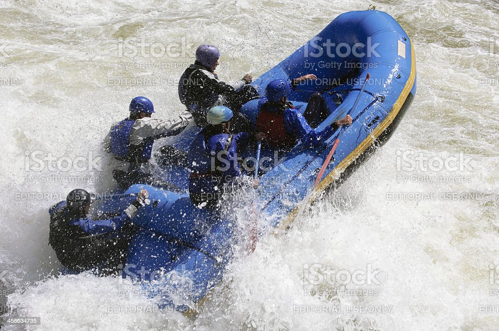 Raft at Lochsa Falls stock photo
