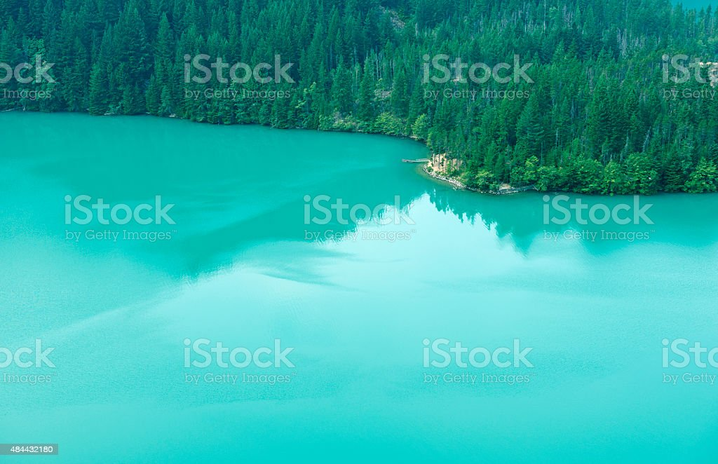Raft at public campground on Lake Diablo in Washington state stock photo