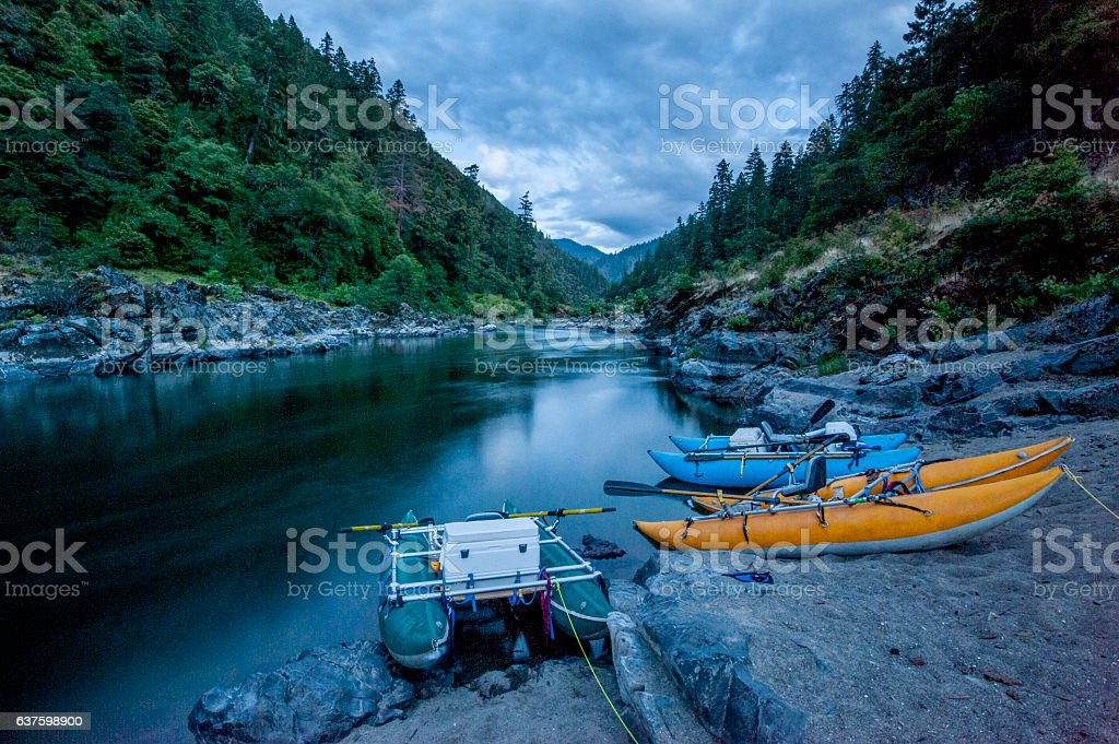 Raft Camp, Rogue River, Oregon stock photo
