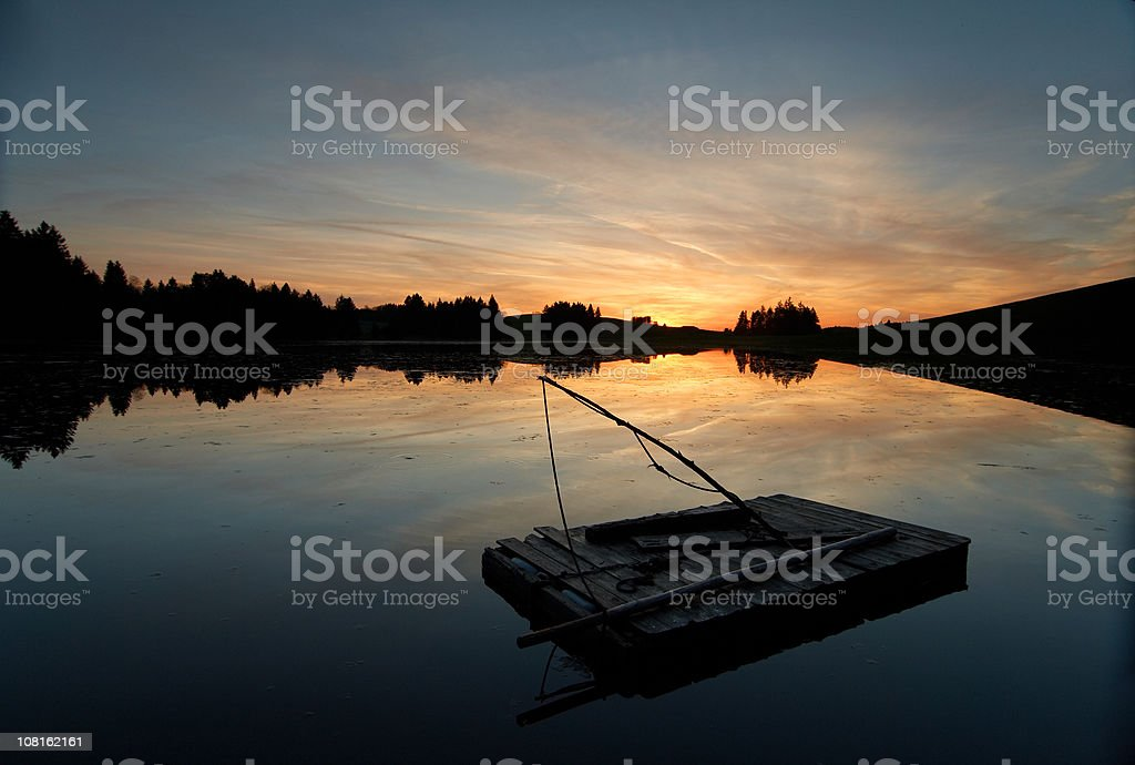 raft floating on a lake in bavaria, germany stock photo