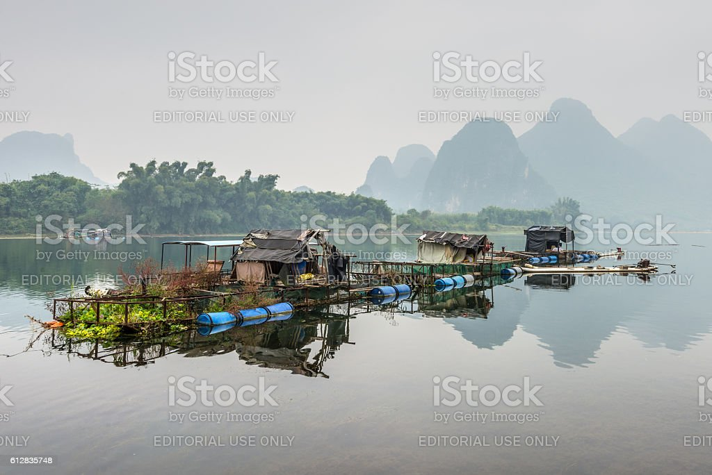 Raft house on Li river stock photo