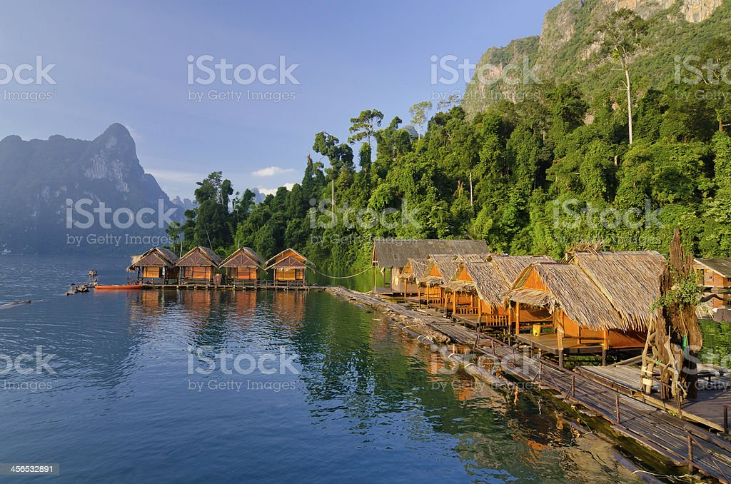Raft houses at Cheow Lan Lake, Khao Sok National Park stock photo