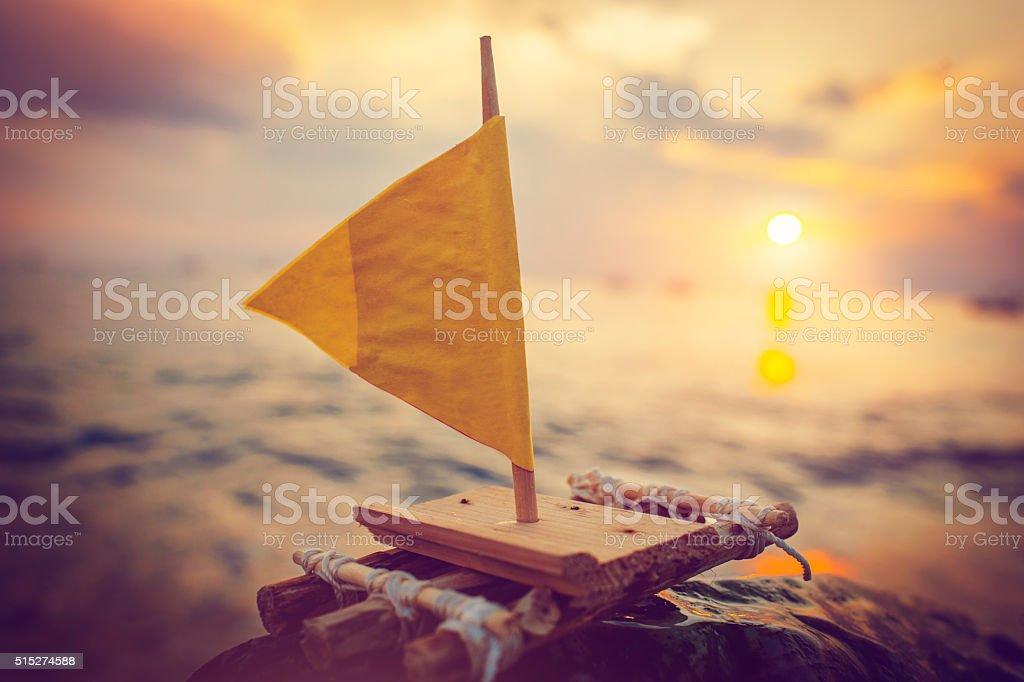 Raft in sunset stock photo