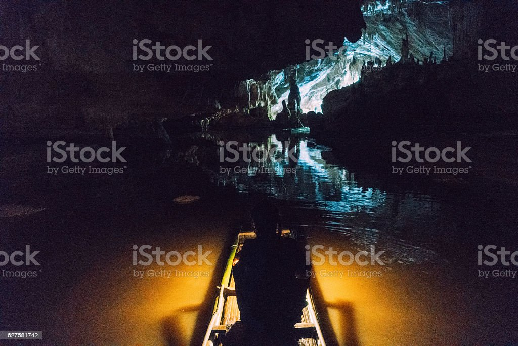Raft in the cave stock photo