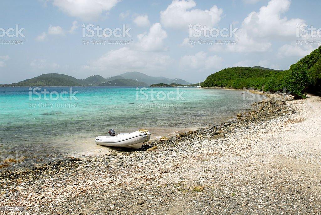 Raft on a beach stock photo