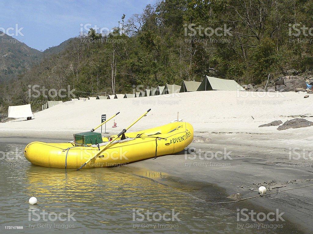 raft on a beach royalty-free stock photo