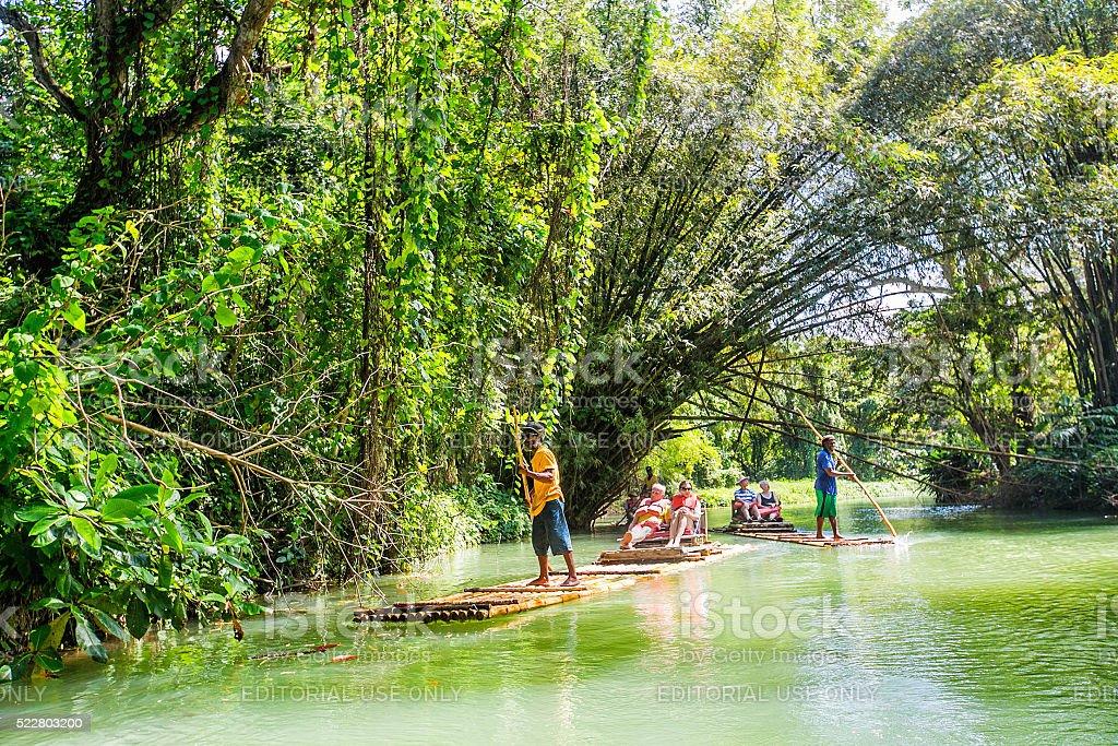 Raft on Martha Brae river in Jamaica stock photo