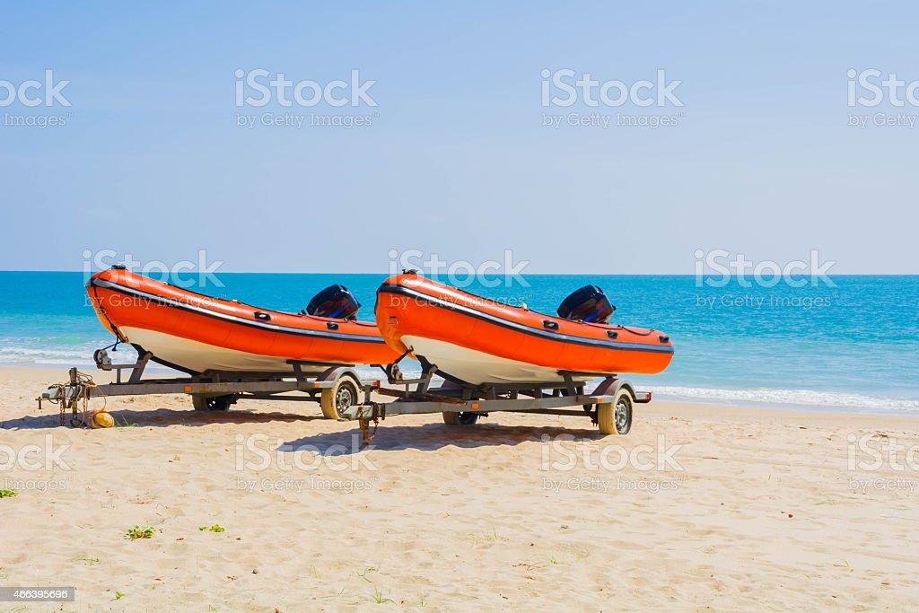 Rafting, Boot, Strand, sand, Meer Lizenzfreies stock-foto