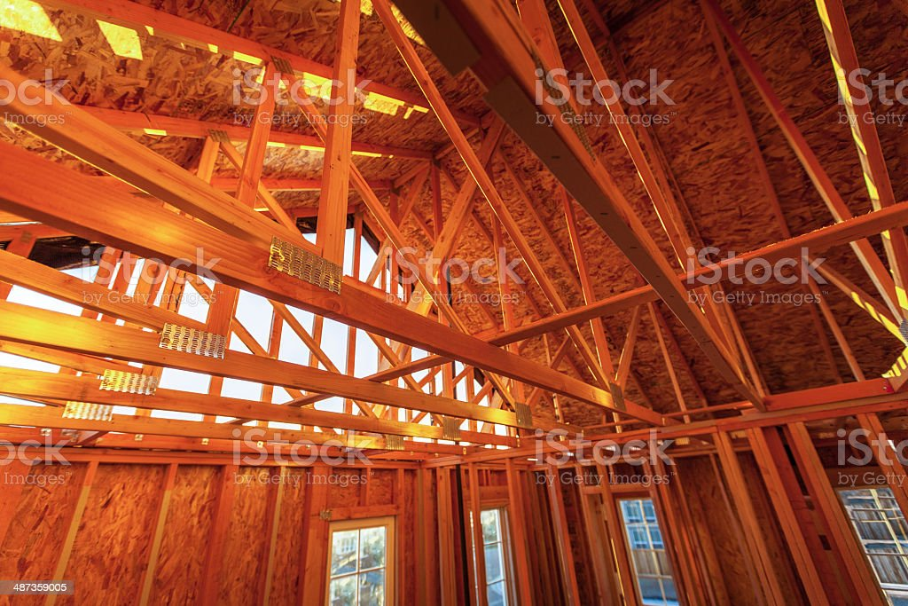 Rafters in New Home Construction stock photo