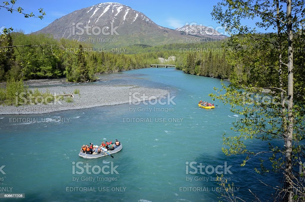 Rafters on the Russian River in Alaska stock photo
