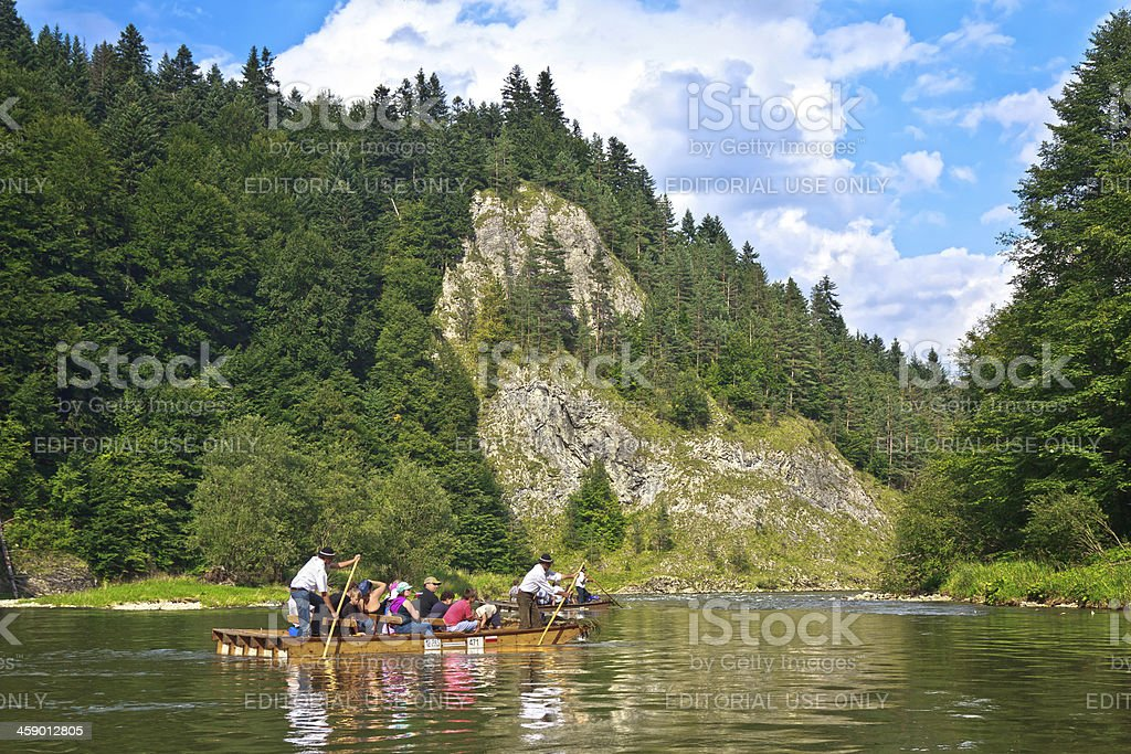 Rafting at river Dunajec stock photo