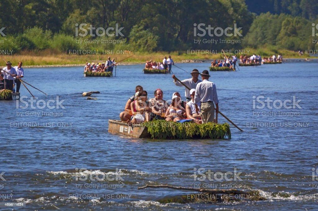 Rafting at river Dunajec, Poland stock photo