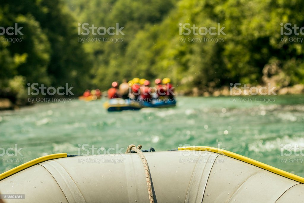 Rafting boat trip.- Front view stock photo