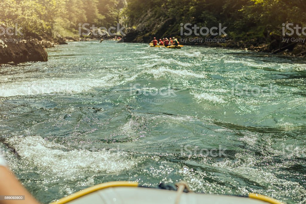 Rafting, boat trip. Front view with sunligh stock photo