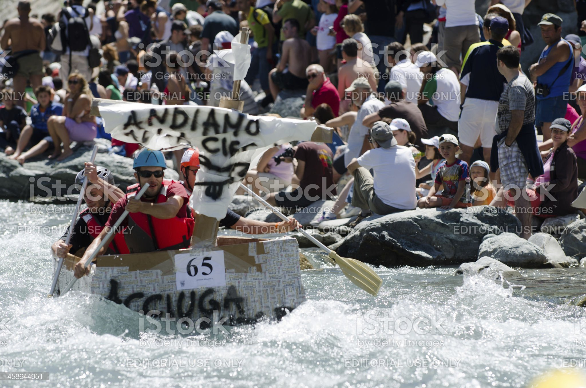 Rafting carton boat race royalty-free stock photo