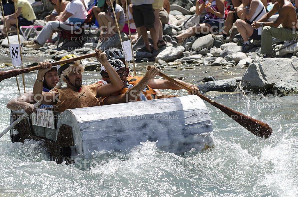 Rafting carton the Flintstones boat royalty-free stock photo