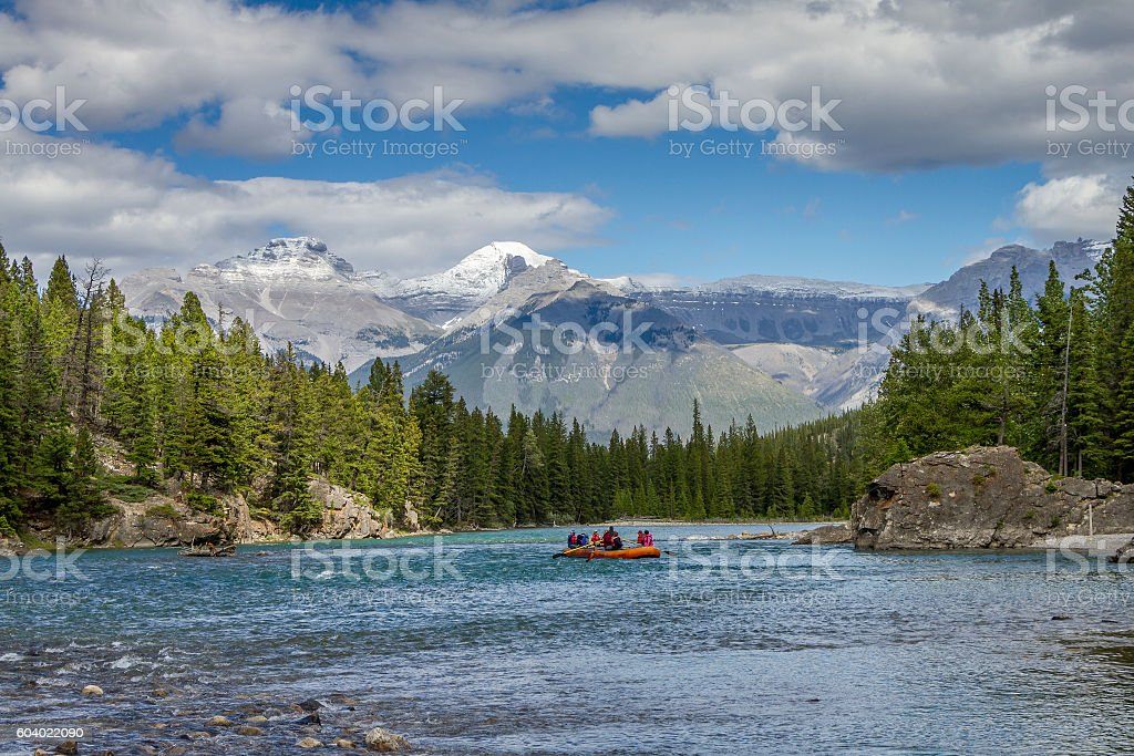 Rafting on a Mountain River - Jasper National Park, Canada stock photo