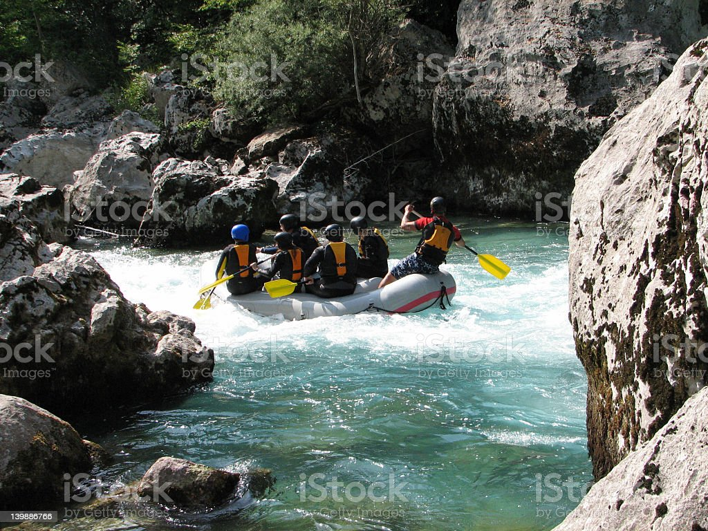 Rafting on a river royalty-free stock photo